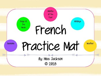 French Vocabulary Mat (Days of the Week, Months of the Year, etc.)