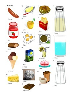 French Vocabulary - Meals Food and Drinks - Crossword Puzzle