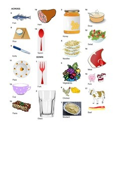 French Vocabulary - Meals Food and Cutlery - Crossword Puzzle