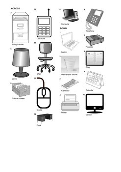 French Vocabulary - Office Equipment and Furniture - Crossword Puzzle