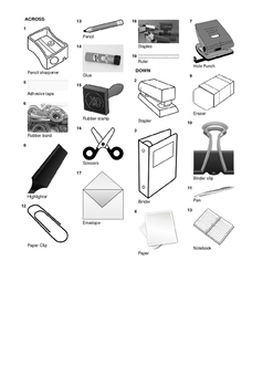 French Vocabulary - Office Supplies and Stationery Crossword Puzzle