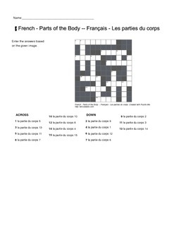 French Vocabulary - Parts of the Human Body - Crossword Puzzle