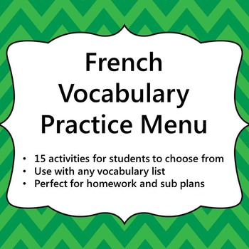French Vocabulary Practice Menu