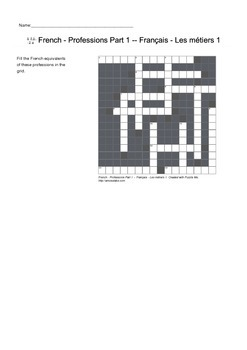 French Vocabulary - Professions Part 1 - Crossword Puzzle