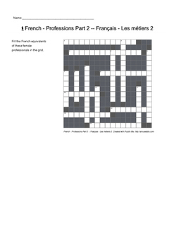 French Vocabulary - Professions Part 2 - Crossword Puzzle