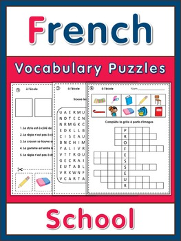 French Vocabulary Puzzles  school words