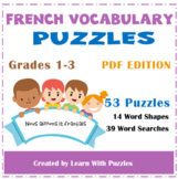French Vocabulary Puzzles-UNIQUE 50+ French Sight Words Puzzles Gr1-3