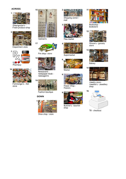 French Vocabulary - Shops and Stores Crossword Puzzle
