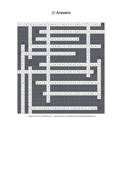French Vocabulary - Telling Time Crossword Puzzle