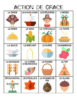 French - Vocabulary - Thanksgiving