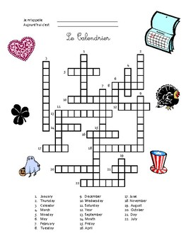 French Vocabulary - The Calendar