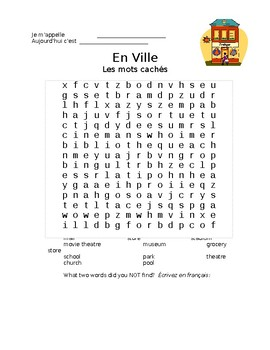 French Vocabulary - The City, Wordsearch