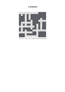 French Vocabulary - Time Crossword Puzzle