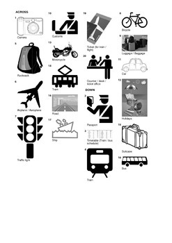 french vocabulary travel and means of transport crossword puzzle