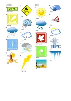 French Vocabulary - Weather and Seasons - Crossword Puzzle