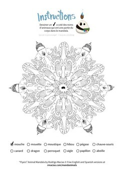 French Vocabulary and Coloring Activity: Animal Names
