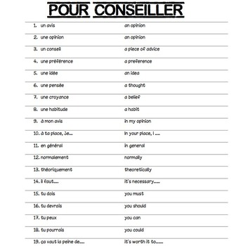 French Vocabulary for Giving Advice