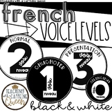 French Voice Level Posters in Black and White