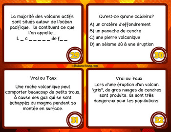 French Volcano Task Cards ~ Cartes à tâches