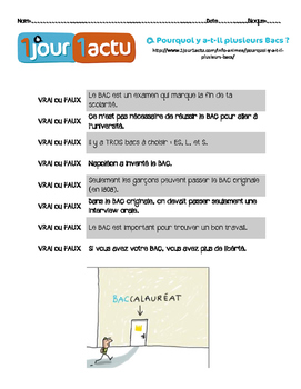 French Vrai/Faux questions about 1jour1actu.com video about the BAC
