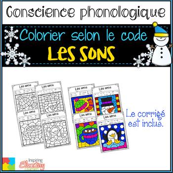 French WINTER color by sounds / Coloriage magique / les sons HIVER