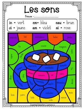 French Winter Color By Sounds Coloriage Magique Les Sons Hiver