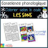 French WINTER color by sounds / Coloriage magique / les so