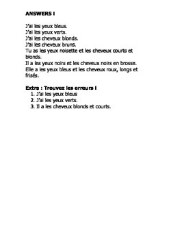 French Teaching Resources. Starter Activity Describing Hair & Eyes (adjectives).