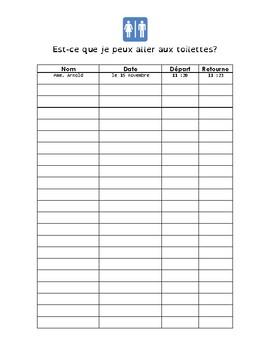 French Washroom Signout Sheet