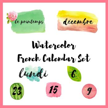 French Watercolor Calendar Set