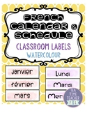 French Watercolour Calendar & Schedule Labels