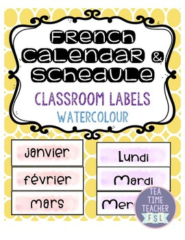French Watercolour Calendar & Schedule Labels