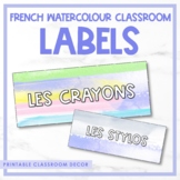 Editable French Watercolour Classroom Labels
