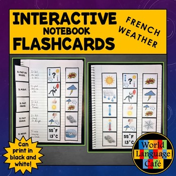 French Weather Interactive Notebook Flashcards, Le Temps