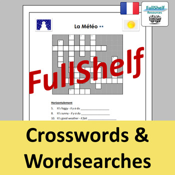 French Weather (La Meteo) Worksheets / Puzzles
