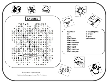 French Weather Vocabulary Word Find with Clipart
