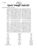 French Weather Word Search - Mots mêlés, la metéo, les saisons, les mois,