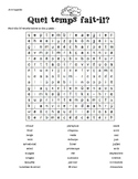 French Weather Word Search - Mots mêlés, la metéo, les sai