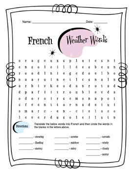 French Weather Words Worksheet Packet
