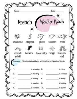french weather words worksheet packet by sunny side up resources. Black Bedroom Furniture Sets. Home Design Ideas