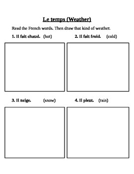 French Weather Words for Young Leaners