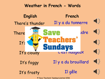French Weather and Seasons Unit (6 lessons) - All lessons have AUDIO clips
