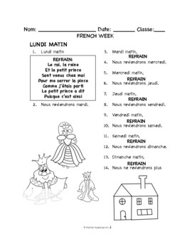 French Week SONG LYRICS & COLORING PAGE