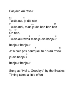 French Welcome/Goodbye song