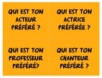 """French """"What's Your Favorite"""" cards for Vocabulary and Conversation"""