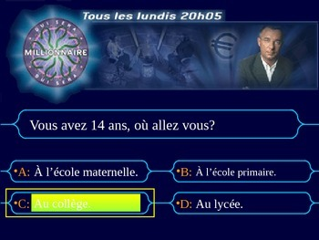 French Who Wants To Be a Millionaire Game: Education Teaching Resources.