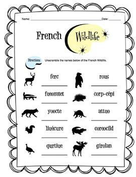French Wildlife Worksheet Packet