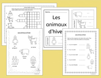 French Winter - Hiver - worksheets, handouts, activities