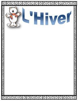 French Winter Acrostic Poem Starter ~ L'Hiver Poème acrostiche