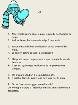 French - Winter Activities - On s'amuse en hiver